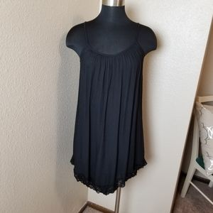 Lolly Black Lined Lace Trim Spaghetti Strap Dress